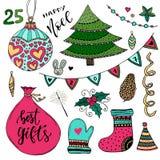 Νέα συλλογή έτους των διακοσμήσεων Διανυσματικά στοιχεία Χριστουγέννων Νέα ζωηρόχρωμη απεικόνιση έτους Στοκ Εικόνες