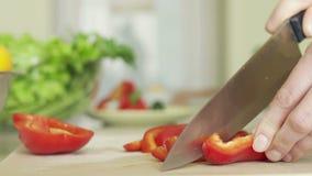 Νέα σύζυγος που προετοιμάζει το κόκκινο πιπέρι στην κινηματογράφηση σε πρώτο πλάνο κουζινών εν πλω Εστιατόριο απόθεμα βίντεο