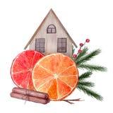 Νέα σύνθεση έτους Watercolor απεικόνιση αποθεμάτων
