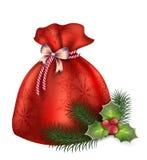Νέα τσάντα έτους ` s των μποτών με τα δώρα, fir-trees, τα βλήματα, το γκι και την απεικόνιση καραμελών Στοκ Εικόνες