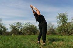 Νέα υπέρβαρη γυναίκα που κάνει τη γιόγκα στο θερινό λιβάδι στοκ φωτογραφίες με δικαίωμα ελεύθερης χρήσης