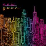 Νέα Υόρκη Εκλεκτής ποιότητας ζωηρόχρωμο συρμένο χέρι τοπίο πόλεων νύχτας επίσης corel σύρετε το διάνυσμα απεικόνισης Στοκ Εικόνες