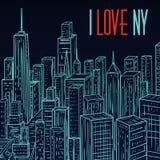 Νέα Υόρκη Εκλεκτής ποιότητας ζωηρόχρωμο συρμένο χέρι τοπίο πόλεων νύχτας επίσης corel σύρετε το διάνυσμα απεικόνισης Στοκ Εικόνα
