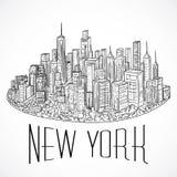 Νέα Υόρκη Εκλεκτής ποιότητας συρμένο χέρι τοπίο πόλεων επίσης corel σύρετε το διάνυσμα απεικόνισης Στοκ Φωτογραφία