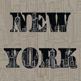Νέα Υόρκη Εκλεκτής ποιότητας συρμένο χέρι τοπίο πόλεων επίσης corel σύρετε το διάνυσμα απεικόνισης Στοκ εικόνα με δικαίωμα ελεύθερης χρήσης