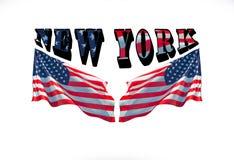 Νέα Υόρκη και δύο αμερικανικές σημαίες σε ένα άσπρο υπόβαθρο Στοκ εικόνα με δικαίωμα ελεύθερης χρήσης