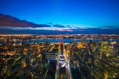 Νέα Υόρκη Μανχάτταν τη νύχτα Στοκ Εικόνες