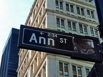Νέα Υόρκη, σημάδι οδών της Ann στοκ φωτογραφίες με δικαίωμα ελεύθερης χρήσης