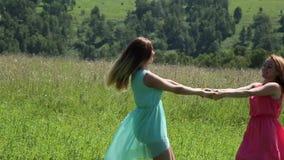 Νέα φίλη δύο που περιβάλλει χέρι-χέρι στο πράσινο λιβάδι απόθεμα βίντεο