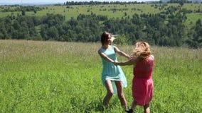 Νέα φίλη δύο που περιβάλλει χέρι-χέρι στο πράσινο λιβάδι φιλμ μικρού μήκους
