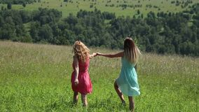 Νέα φίλη δύο που τρέχει χέρι-χέρι στο πράσινο λιβάδι απόθεμα βίντεο