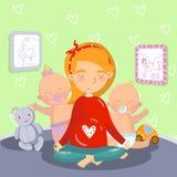 Νέα χαλάρωση εγκύων γυναικών στη θέση λωτού γιόγκας με τα παιδάκια της, mom διανυσματική απεικόνιση γιόγκας, ύφος κινούμενων σχεδ διανυσματική απεικόνιση