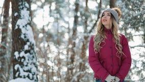 Νέα χαμογελώντας γυναίκα που απολαμβάνει wintertime Γυναίκα που φορά τα θερμά ενδύματα σε έναν κρύο δασικό πυροβολισμό χειμερινού φιλμ μικρού μήκους
