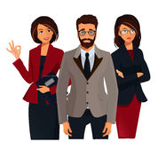 Νέα χαμογελώντας επιχειρηματίας έννοιας ομαδικής εργασίας που παρουσιάζει εντάξει σημάδι Στοκ Εικόνα