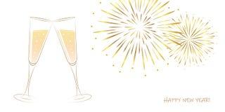 Νέα χρυσά πυροτεχνήματα έτους και γυαλιά σαμπάνιας σε ένα άσπρο υπόβαθρο ελεύθερη απεικόνιση δικαιώματος