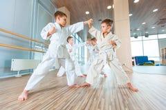 Νέα, όμορφα, επιτυχή πολυ ηθικά παιδιά karate στη θέση στοκ εικόνα με δικαίωμα ελεύθερης χρήσης