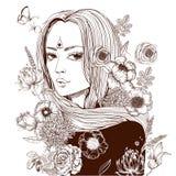 Νέα όμορφα λουλούδια γυναικών wirh ελεύθερη απεικόνιση δικαιώματος
