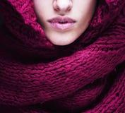 Νέα όμορφα χείλια γυναικών στο πουλόβερ και το μαντίλι παντού το πρόσωπό της Στοκ Εικόνες