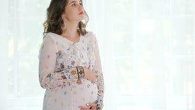 Νέα όμορφη έγκυος γυναίκα που στέκεται κοντά στο παράθυρο στο σπίτι απόθεμα βίντεο