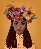 Νέα όμορφη αφρικανική γυναίκα με τα λουλούδια ελεύθερη απεικόνιση δικαιώματος