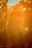 Νέα όμορφη γυναίκα κατά την άποψη σχεδιαγράμματος πάρκων φθινοπώρου αναδρομικά φωτισμένη από το ηλιοβασίλεμα headshot Στοκ εικόνες με δικαίωμα ελεύθερης χρήσης