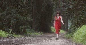 Νέα όμορφη γυναίκα με ένα κόκκινο φόρεμα που περπατά σε ένα πράσινο δάσος φιλμ μικρού μήκους