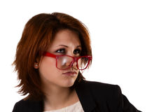Νέα όμορφη γυναίκα με τη έκφραση του προσώπου Στοκ φωτογραφία με δικαίωμα ελεύθερης χρήσης