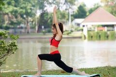 Νέα όμορφη γυναίκα που κάνει τις ασκήσεις γιόγκας στο πάρκο στοκ φωτογραφίες με δικαίωμα ελεύθερης χρήσης