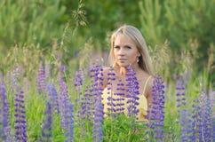 Νέα όμορφη γυναίκα στον τομέα lupine Στοκ εικόνες με δικαίωμα ελεύθερης χρήσης