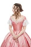 Νέα όμορφη γυναίκα φόρεμα που απομονώνεται στο μεσαιωνικό Στοκ Εικόνα