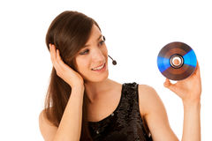 Νέα όμορφη γυναίκα DJ με το Cd στο χέρι της Στοκ Εικόνες