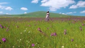 Νέα όμορφη ευτυχής γυναίκα που μένει στο μακρύ φόρεμα λιβαδιών που κυματίζει στον αέρα Όμορφο κορίτσι smilind στο στεφάνι λουλουδ φιλμ μικρού μήκους
