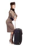 Νέα όμορφη κυρία με μια βαλίτσα. στοκ φωτογραφίες με δικαίωμα ελεύθερης χρήσης