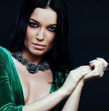 Νέα όμορφη μόδα γυναικών brunette που ντύνονται, φωτεινό makeup, eleg Στοκ Εικόνες