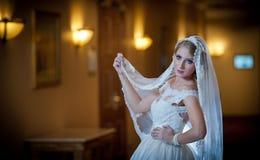 Νέα όμορφη πολυτελής γυναίκα στην τοποθέτηση γαμήλιων φορεμάτων στο πολυτελές εσωτερικό Πανέμορφη κομψή νύφη με το μακρύ πέπλο σα Στοκ Εικόνα