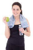 Νέα όμορφη φίλαθλη γυναίκα με το μπουκάλι του μεταλλικού νερού και του AP Στοκ Φωτογραφία