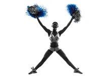 Νέα cheerleading σκιαγραφία μαζορετών γυναικών Στοκ φωτογραφίες με δικαίωμα ελεύθερης χρήσης