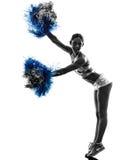 Νέα cheerleading σκιαγραφία μαζορετών γυναικών Στοκ φωτογραφία με δικαίωμα ελεύθερης χρήσης