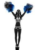 Νέα cheerleading σκιαγραφία μαζορετών γυναικών Στοκ Φωτογραφία