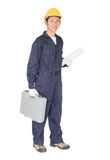 Νέα handyman στάση με το κιβώτιο εργαλείων του στοκ φωτογραφία με δικαίωμα ελεύθερης χρήσης