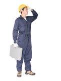 Νέα handyman στάση με το κιβώτιο εργαλείων του στοκ εικόνες με δικαίωμα ελεύθερης χρήσης