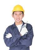 Νέα handyman στάση με το κιβώτιο εργαλείων του στοκ εικόνα με δικαίωμα ελεύθερης χρήσης