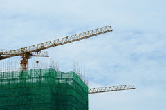 νέα residental περιοχή σπιτιών γερανών κατασκευής Στοκ Εικόνες