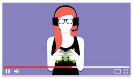 Νέα Videogames παιχνιδιού γυναικών στο βίντεο Στοκ φωτογραφία με δικαίωμα ελεύθερης χρήσης