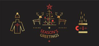 Νέες έτος και Χαρούμενα Χριστούγεννα καθορισμένα διανυσματική απεικόνιση