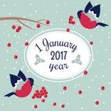 Νέες έτος και Χαρούμενα Χριστούγεννα Bullfinch Στοκ Φωτογραφία