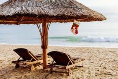 Νέες έτος και christams διακοπές στην παραλία Στοκ Φωτογραφία