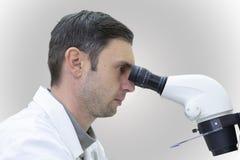 Νέες αρσενικές εργασίες επιστημόνων με ένα μικροσκόπιο σε ένα εργαστήριο επιστήμης στοκ φωτογραφία με δικαίωμα ελεύθερης χρήσης