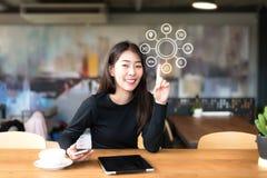 Νέες ασιατικές γυναίκες που χρησιμοποιούν τις σε απευθείας σύνδεση αγορές πληρωμών lap-top και τη σύνδεση δικτύων πελατών εικονιδ Στοκ Εικόνες