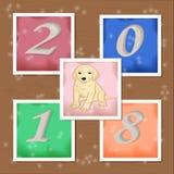 Νέες αυτοκόλλητες ετικέττες έτους με το σκυλί και αριθμοί Στοκ Εικόνες